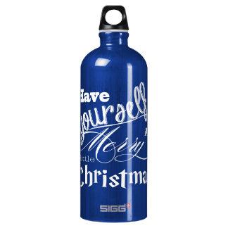 Felices pequeños Navidad verdes y acebo blanco Botella De Agua