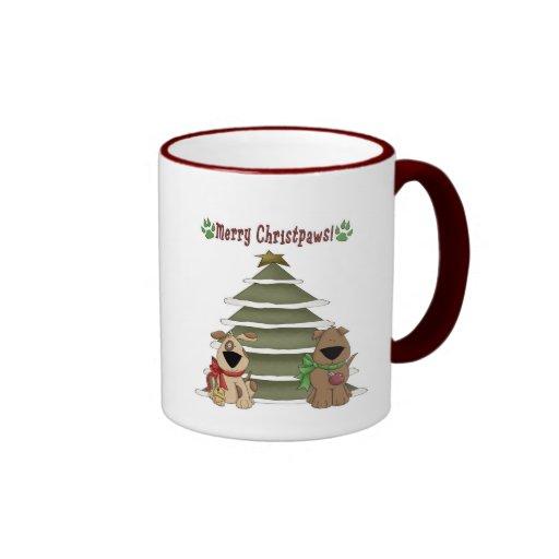 Felices perritos de Christpaws por el árbol Taza De Café
