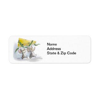 Felices ratones Mic y etiquetas del MAC address Etiqueta De Remite