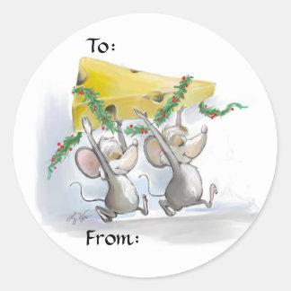 Felices ratones Mic y etiquetas del regalo de Etiquetas Redondas