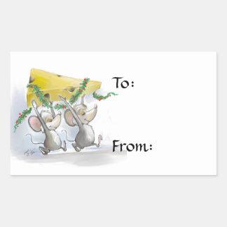 Felices ratones Mic y etiquetas del regalo de Pegatina Rectangular