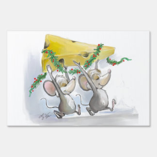 Felices ratones Mic y muestra de la yarda del mac Carteles