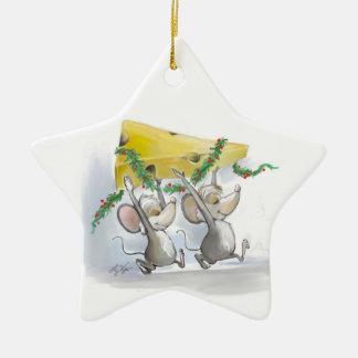 Felices ratones Mic y ornamento de la estrella del Adorno Navideño De Cerámica En Forma De Estrella