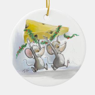 Felices ratones Mic y ornamento del círculo del Adorno Navideño Redondo De Cerámica