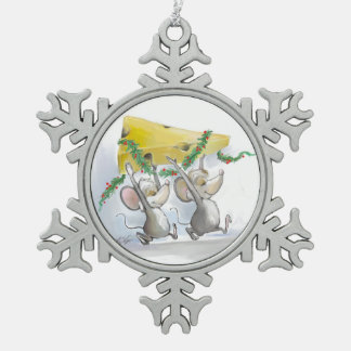Felices ratones Mic y ornamento del copo de nieve  Adorno
