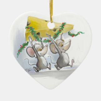 Felices ratones Mic y ornamento del corazón del Adorno Navideño De Cerámica En Forma De Corazón