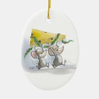 Felices ratones Mic y ornamento del óvalo del mac Adorno Navideño Ovalado De Cerámica