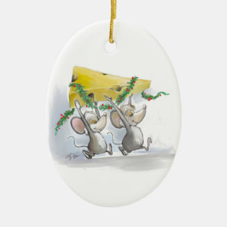 Felices ratones Mic y ornamento del óvalo del mac Ornamentos De Navidad