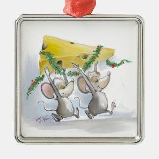 Felices ratones Mic y ornamento superior cuadrado Adorno Navideño Cuadrado De Metal