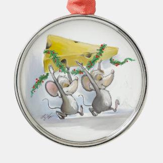 Felices ratones Mic y ornamento superior redondo Adorno Navideño Redondo De Metal