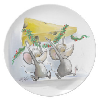Felices ratones Mic y placa del mac Plato De Cena