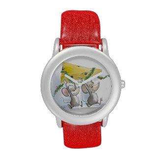 Felices ratones Mic y reloj del día de fiesta del