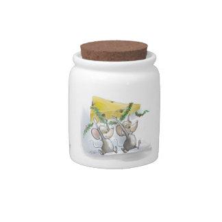 Felices ratones Mic y tarro del caramelo del día d Tarro De Cerámica Para Dulces