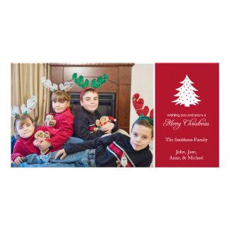 Felices tarjetas de la foto del árbol de navidad tarjetas fotograficas personalizadas