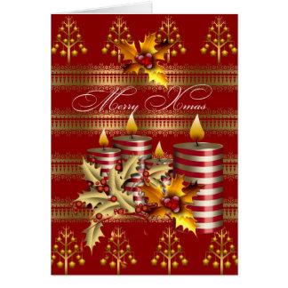 Felices velas rojas del navidad del oro de Navidad Tarjeta De Felicitación