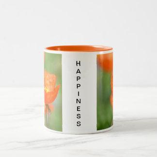Felicidad anaranjada de la flor de la amapola de I Taza Dos Tonos