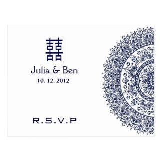 Felicidad blanca azul china RSVP del doble de la p Tarjeta Postal