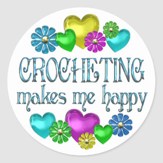 Felicidad Crocheting Pegatina Redonda