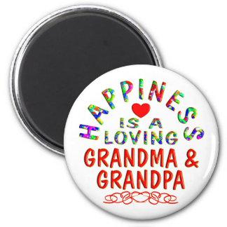 Felicidad de la abuela y del abuelo imán redondo 5 cm