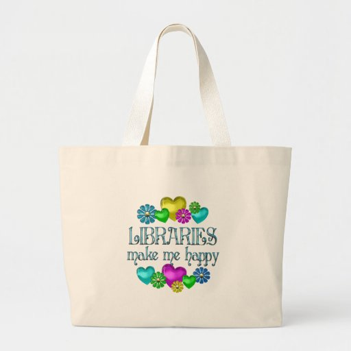 Felicidad de la biblioteca bolsas de mano
