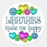 Felicidad de la biblioteca etiqueta redonda