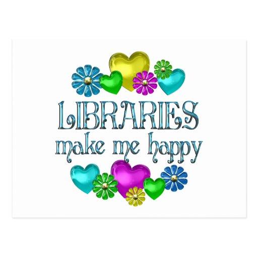 Felicidad de la biblioteca postales