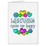 Felicidad de la biblioteca tarjetón