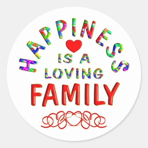 Felicidad de la familia pegatina redonda