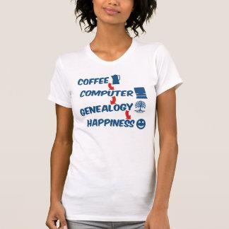Felicidad de la genealogía del ordenador del café camisetas