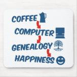Felicidad de la genealogía del ordenador del café tapete de ratón