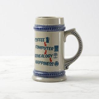 Felicidad de la genealogía del ordenador del café jarra de cerveza