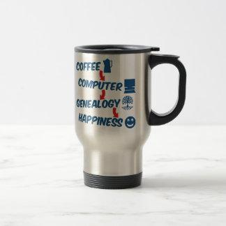 Felicidad de la genealogía del ordenador del café taza de viaje