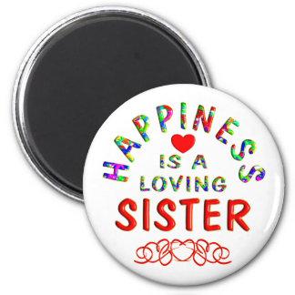 Felicidad de la hermana imán redondo 5 cm