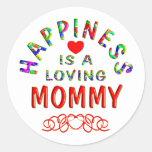 Felicidad de la mamá etiqueta redonda