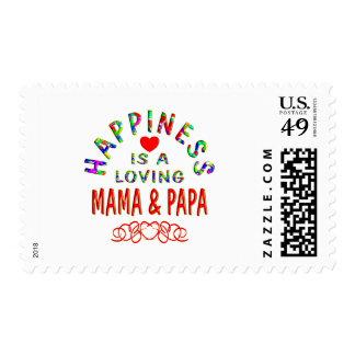 Felicidad de la mamá y de la papá sello
