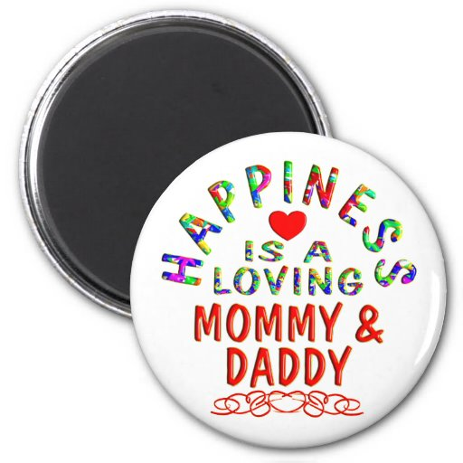 Felicidad de la mamá y del papá imán redondo 5 cm