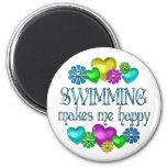 Felicidad de la natación imán para frigorifico
