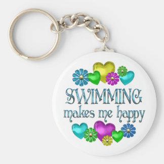Felicidad de la natación llavero redondo tipo pin