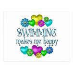Felicidad de la natación tarjetas postales