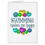 Felicidad de la natación tarjetón