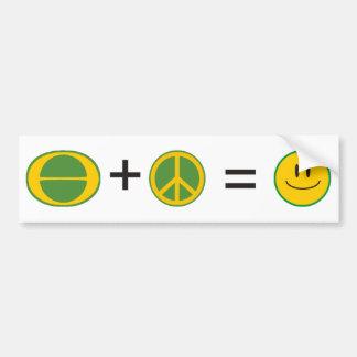 Felicidad de la paz de la ecología pegatina para auto
