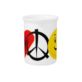 Felicidad de la paz del amor jarrón