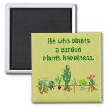 Felicidad de la planta. Plante un jardín. Imán del