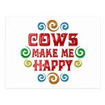 Felicidad de la vaca postal