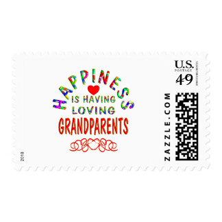 Felicidad de los abuelos estampillas
