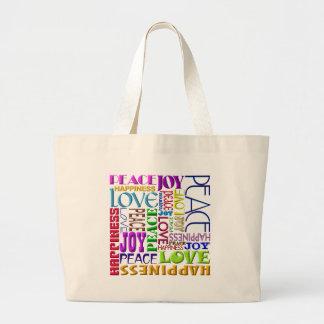Felicidad del amor de la alegría de la paz bolsa tela grande