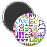 Felicidad del amor de la alegría de la paz imanes de nevera