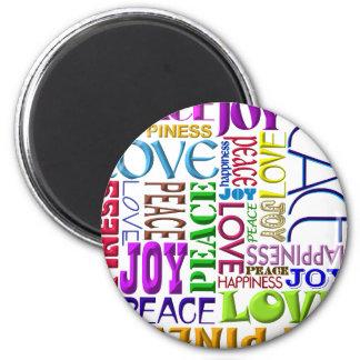 Felicidad del amor de la alegría de la paz imán redondo 5 cm
