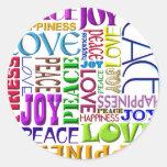 Felicidad del amor de la alegría de la paz pegatinas redondas
