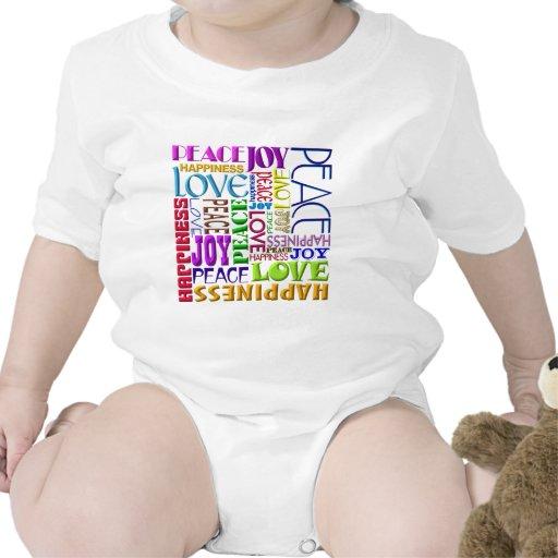 Felicidad del amor de la alegría de la paz trajes de bebé